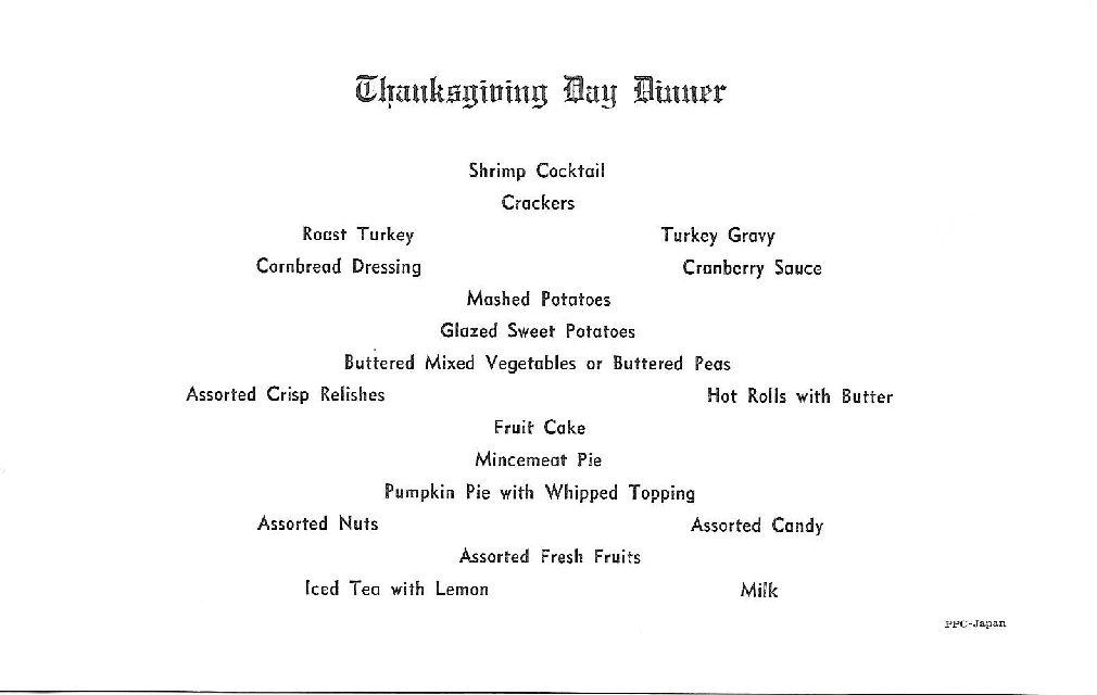 Thanksgiving Day 1968 Menu RVN